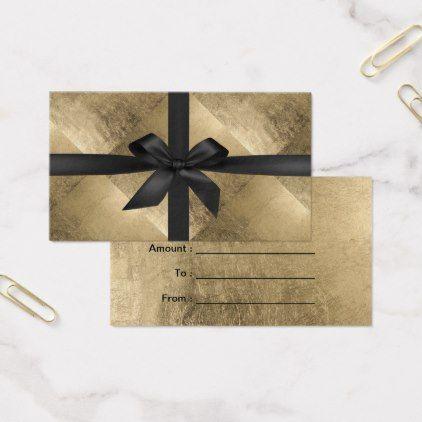 Gift Certificates Modern Black Ribbon Gold Foil - makeup artist gifts style stylish unique custom stylist