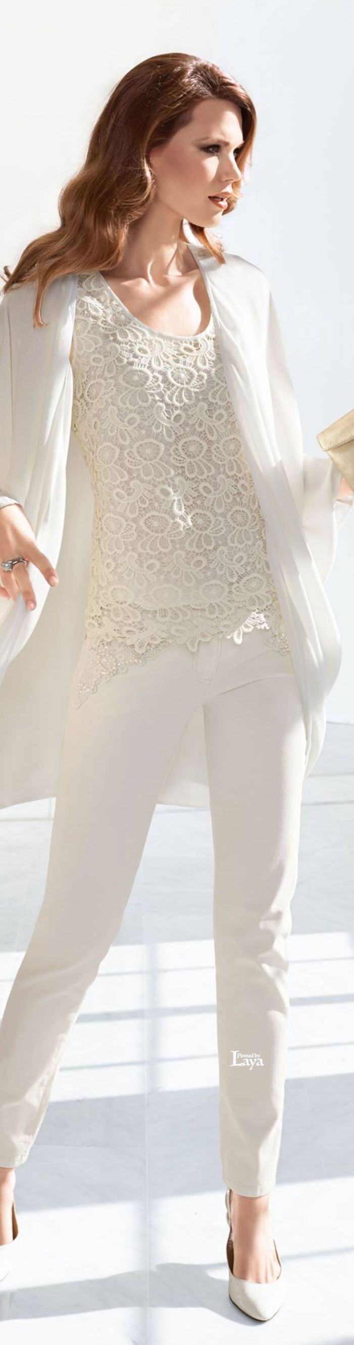 Madeleine ~ Summer White Embroidered Lace Top Blouse, w Slim Pants, blazer. women fashion outfit clothing style apparel @roressclothes closet ideas