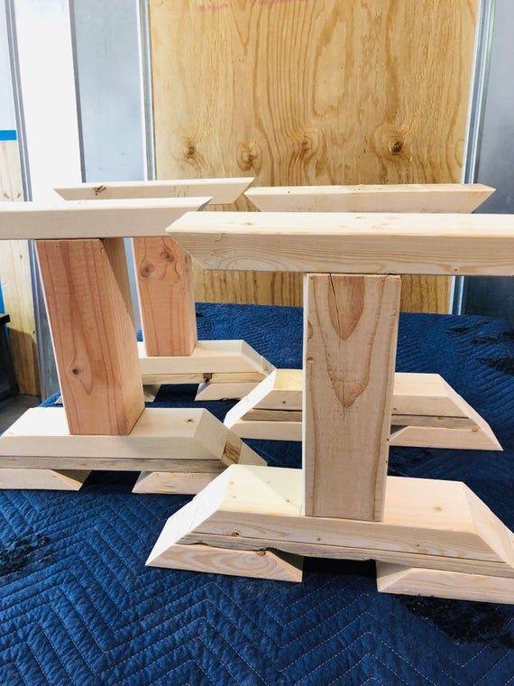 DIY Bench Leg Set, Trestle Style Wooden Bench Legs ...