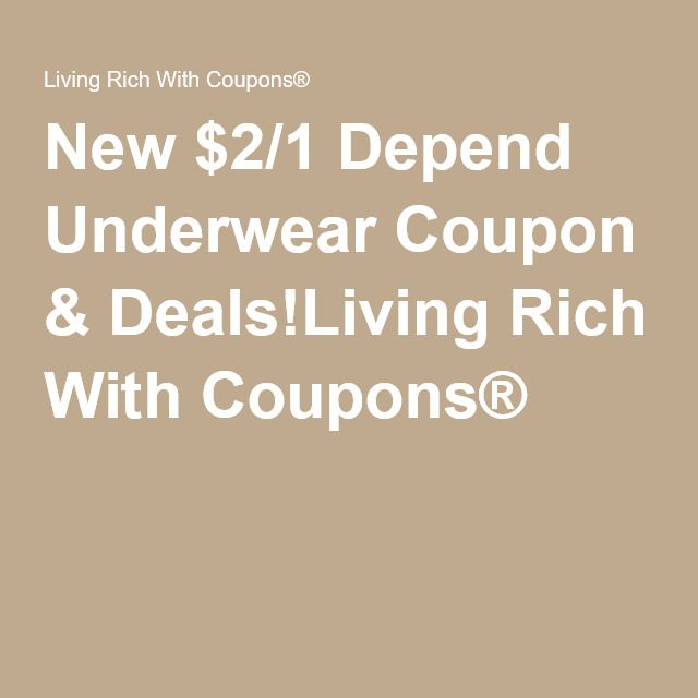 New $2/1 Depend Underwear Coupon & Deals!Living Rich With Coupons®
