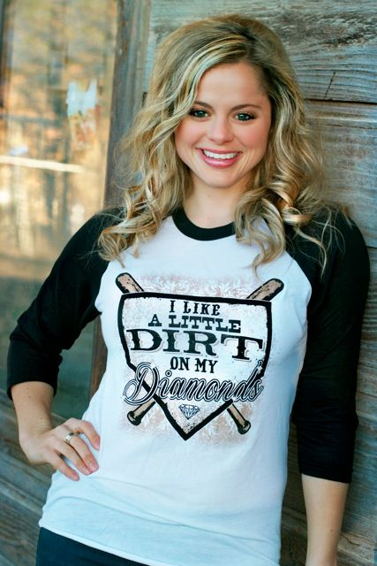 """NEW from our """"Free to Be"""" line! I like A little Dirt on my Diamonds! #atxmafia #baseball"""