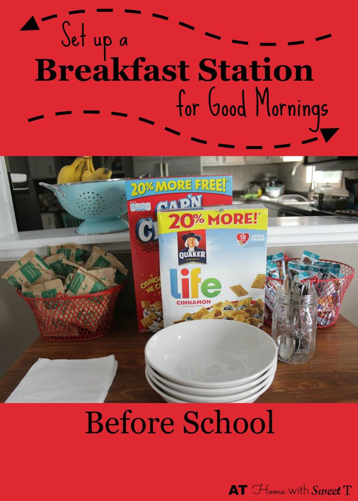 Set up a breakfast station to get everyone out the door on school mornings on time. #quakertime AD