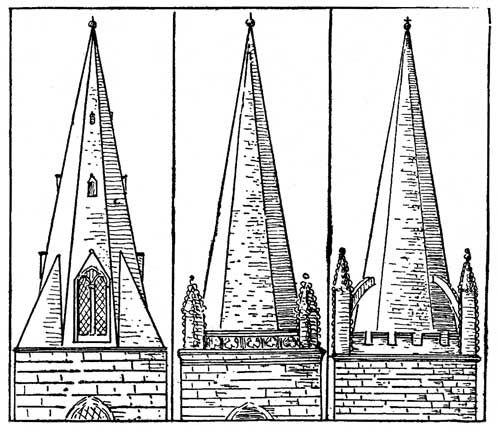 Tudor Architecture - Broached Spire, Spire Parapets and Buttresses.  http://karenswhimsy.com/tudor-architecture.shtm