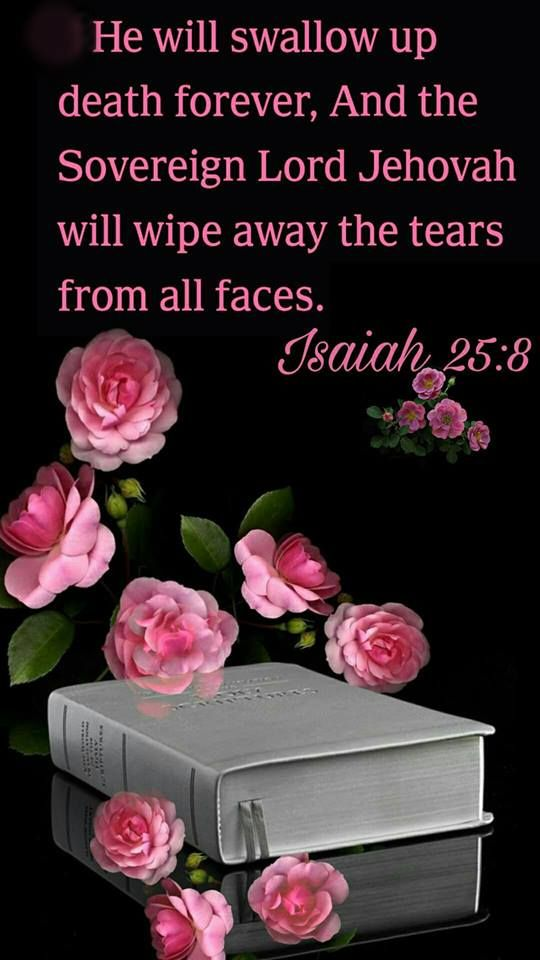 """""""He will swallow up death forever, And the Sovereign Lord Jehovah will wipe away the tears from all faces...."""" Isa 25:8 jw.org"""