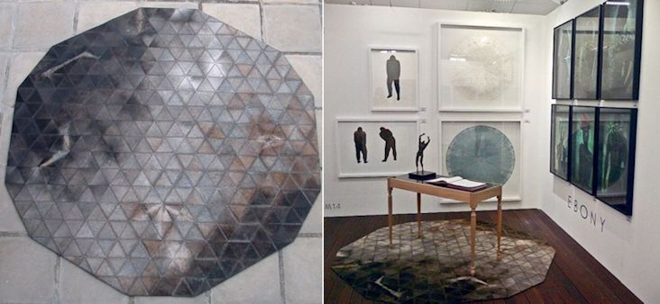 Trigon stitch / Organic layout / Dark gris hide / 210cm diameter / www.johnoduplessis.co.za