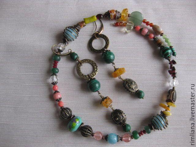 Купить Оберег от сглаза Комплект из натуральных камней (ожерелье и серьги) - ожерелье, амулет талисман оберег