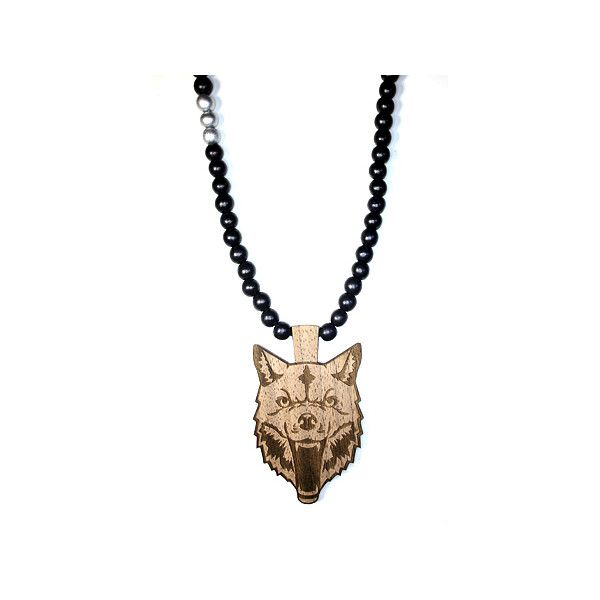 Domo Beads Wolf Necklace (1,675 INR) ❤ liked on Polyvore featuring men's…