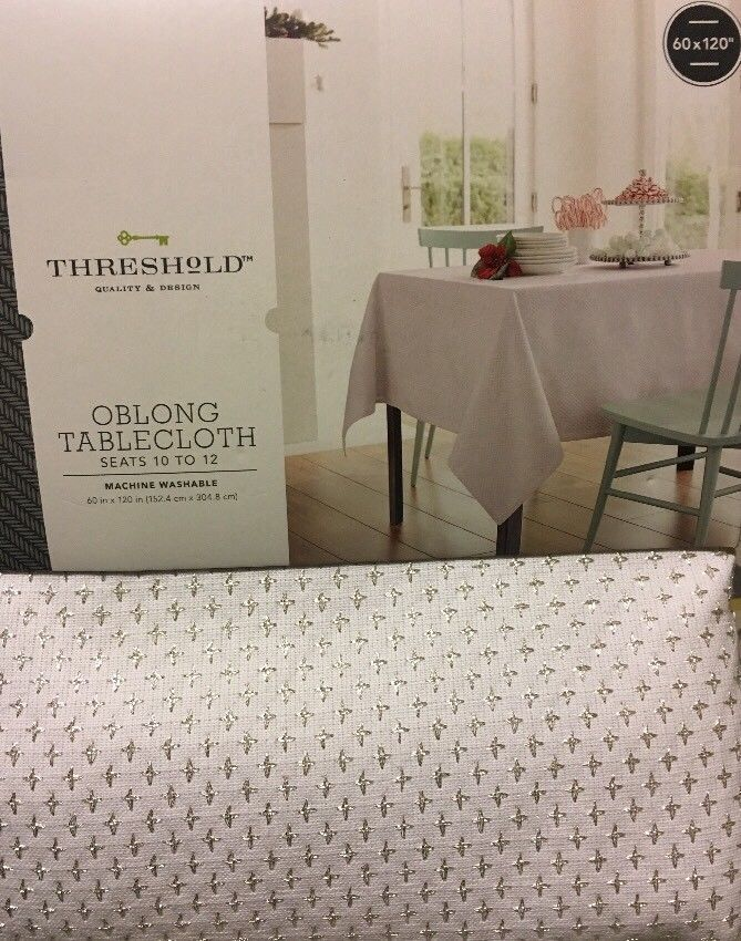 Threshold White and Metallic Silver Oblong Tablecloth 60 x 120  | eBay