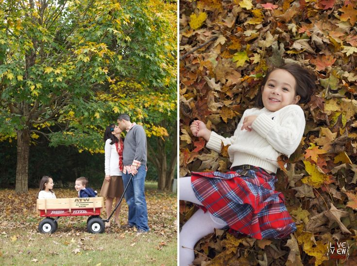 cute family portrait poses, little girl playing with colorful fall leaves, raleigh nc family photographers