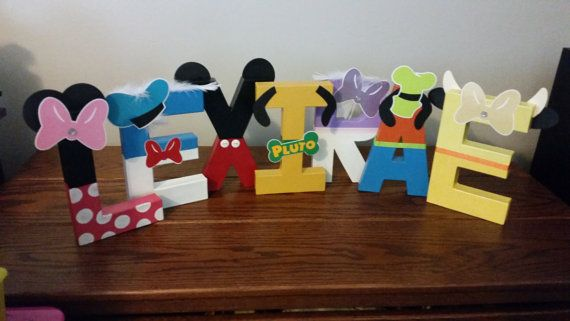 These letters would be an awesome addition to your childs birthday party, to call it their own, and also great for decorating their bedroom!!  I can customize any Mickey Clubhouse character with any name. There are 9 total characters to choose from! Characters are: Mickey Mouse, Minnie Mouse, Donald Duck, Daisy Duck, Goofy, Pluto, Toodles, Pete, and Clarabelle  The $35 is for up to 5 letters. More than 5 letters in the name will be an additional cost at $5.00 for each letter. When purchasing…