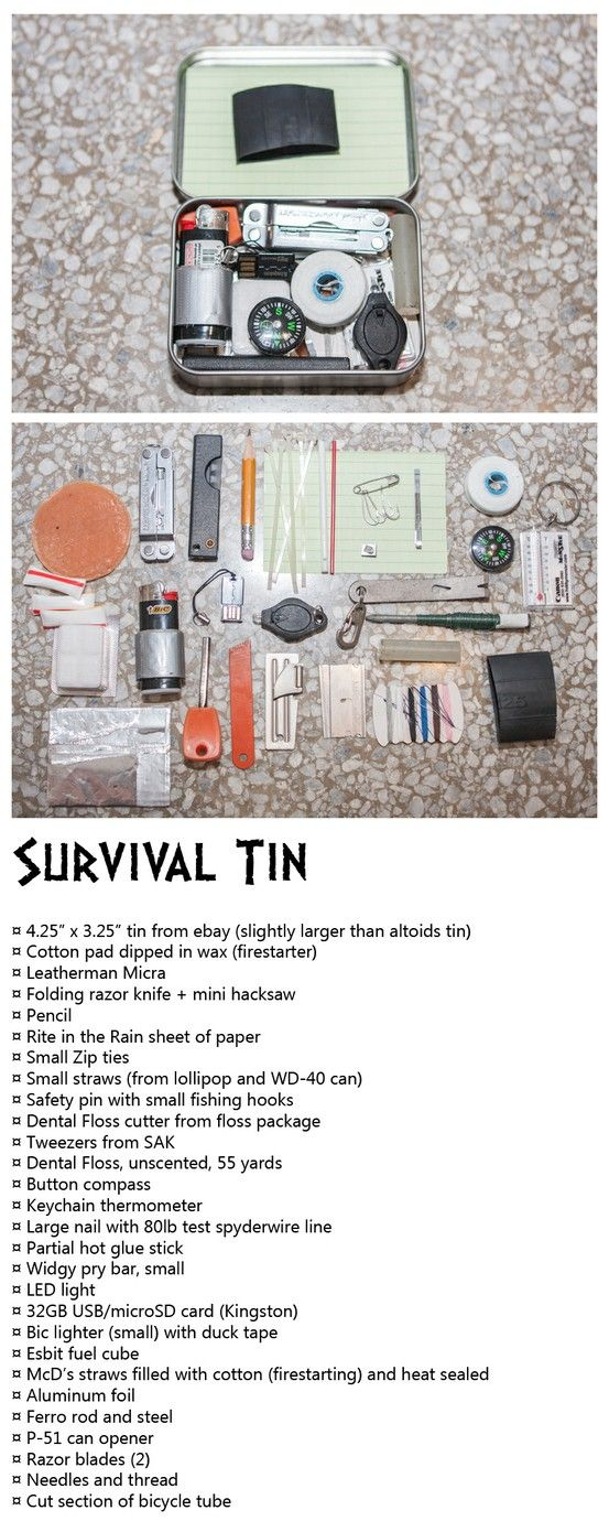 James Bond-Style Survival Tin: firestarters, cordage, cutting tools, fishing, #EDC, #bug out bag, #BOB