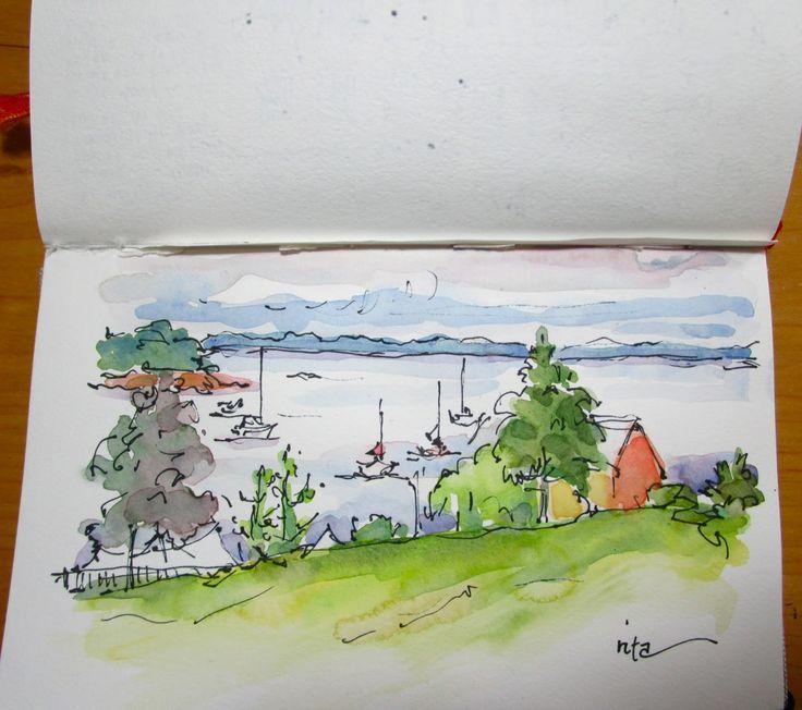Skizzenbuch Wandern Aquarell Postkarte Wasserfarben Skizze