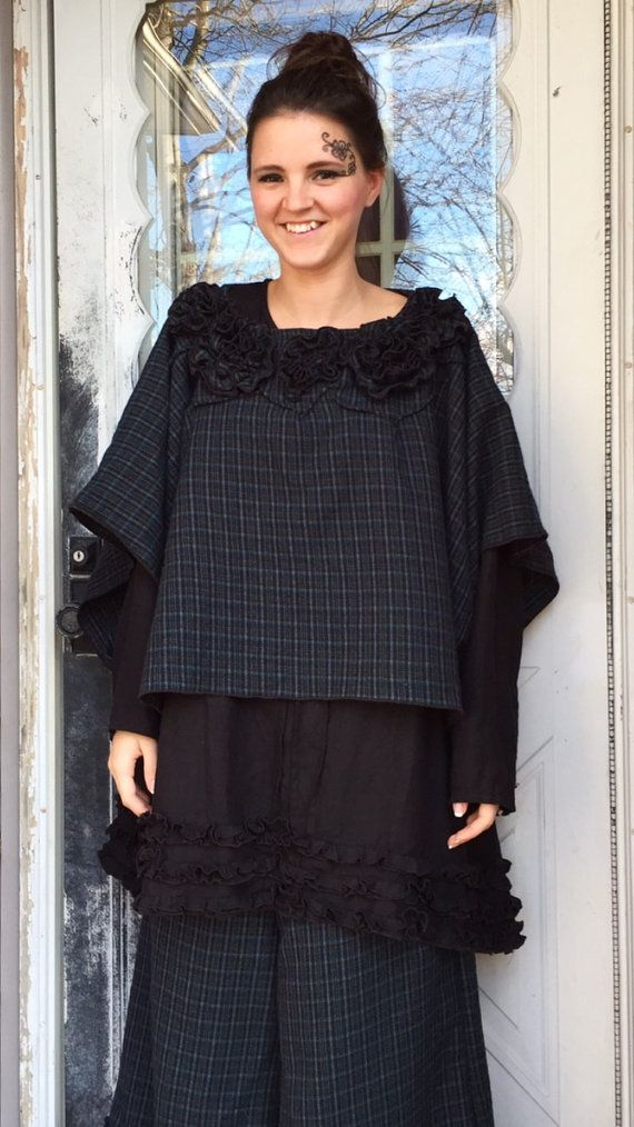 Blue Plaid Wool Poncho L/XL by sarahclemensclothing on Etsy