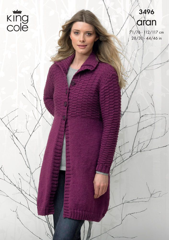 Coat and Hooded Cardigan in King Cole Aran - 3496. Discover more Patterns by King Cole at LoveKnitting. The world's largest range of knitting supplies - we stock patterns, yarn, needles and books from all of your favorite brands.