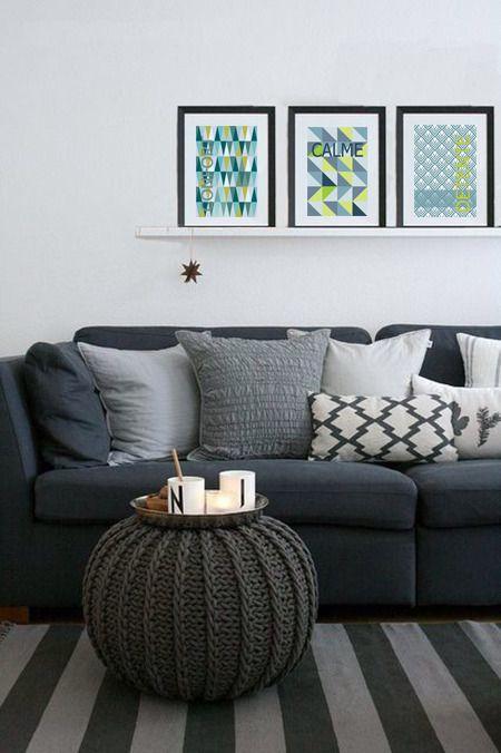 """lot de 3 affiches style scandinave avec motifs graphiques """"calme, confort, détente"""" : Décorations murales par alexiableu"""