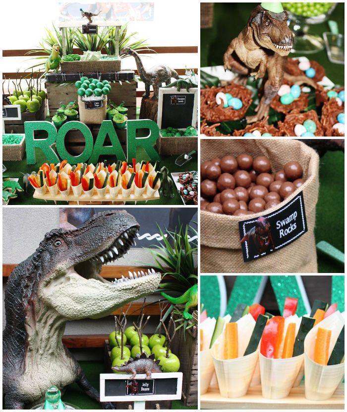T-Rex Dinosaur themed birthday party with So Many Awesome Ideas via Kara's Party Ideas! Full of decorating ideas, cupcakes, decor, recipes, ...