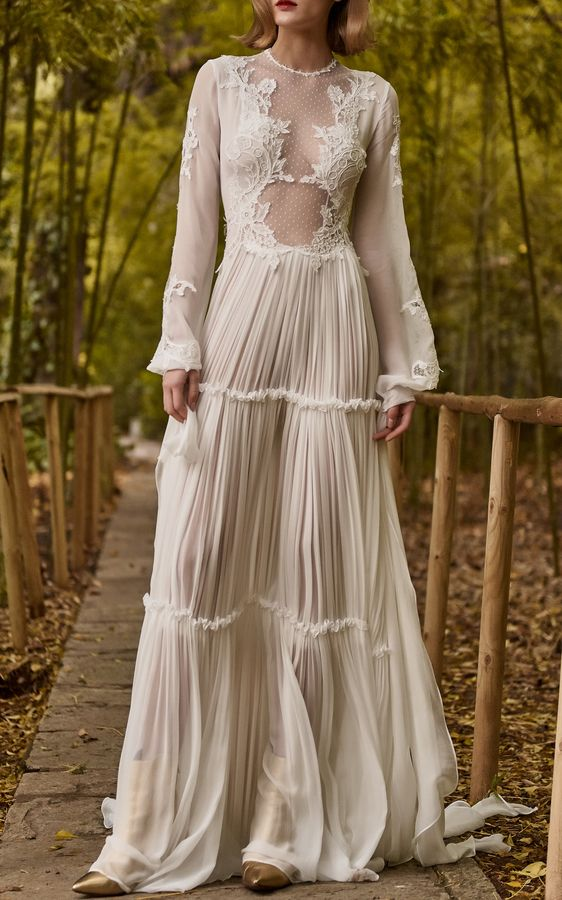 Costarellos Bridal Silk Chiffon Tiered Dress at Moda Operandi #ad