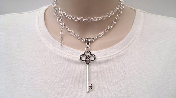 Grote sierlijke charme van de sleutel op een stevige Silver Plated 30 Inch ketting Hand Made ketting/Double Wrap Choker - of kies een andere charme :)