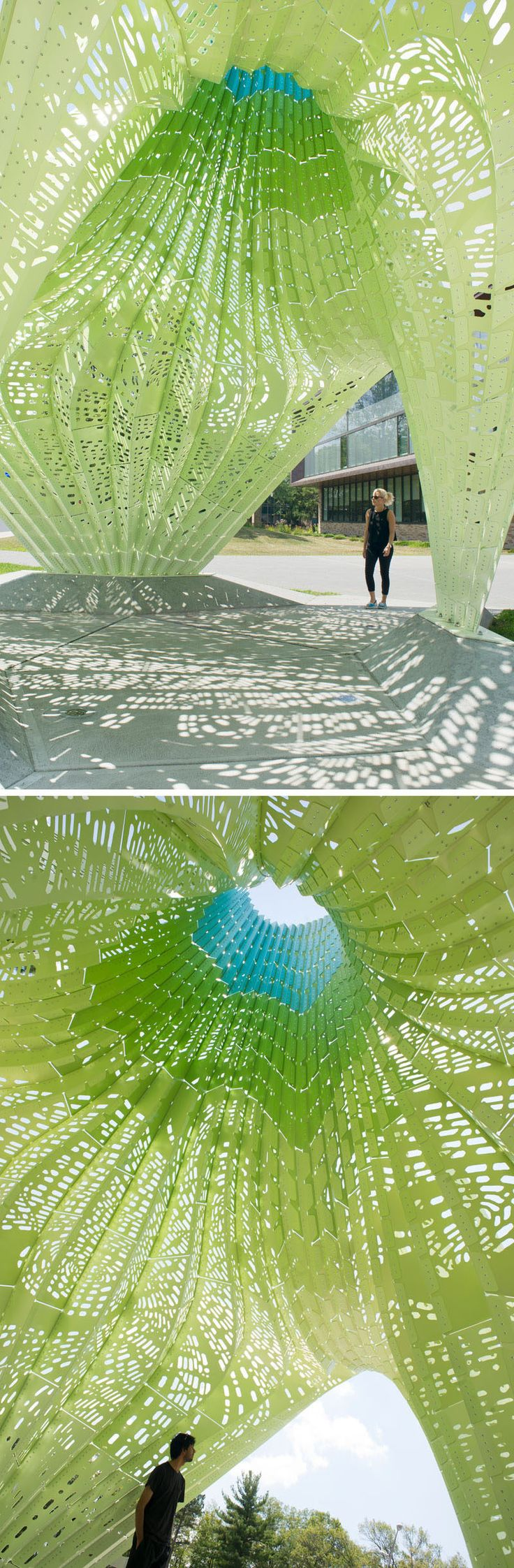 Marc Fornes / THEVERYMANY have recently completed their latest sculptural design HYPARBOLE, that sits at the entrance to Rhode Island College's Fine Arts Center. #ModernArt #ModernSculpture #Sculpture #PublicArt