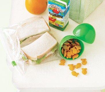 Snacks stored in plastic Easter eggs