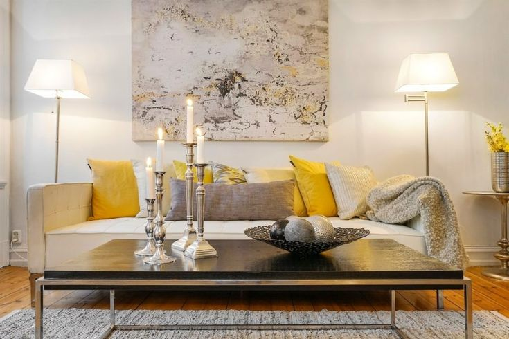 Ideas. Elegant Grey And White Scandinavian House Interior Idea With Yellow Color Accent With Wonderful Wall Art That Looks Like A Marble Slab And Wonderful Classic Candle Holder And Natural Looking Grey Rug. Impressive Wonderful Scandinavian Homes And Interior Design Ideas