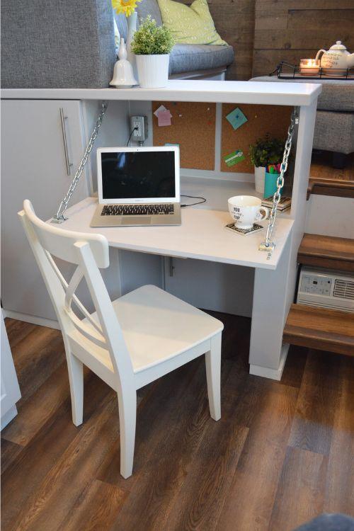 A fold down table creates a simple workspace.