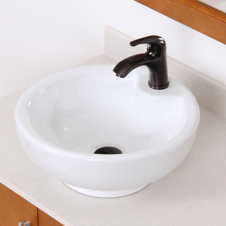 Bathroom Bowl Ceramic Porcelain Vessel Sink & Oil Rubbed Bronze Faucet Combo