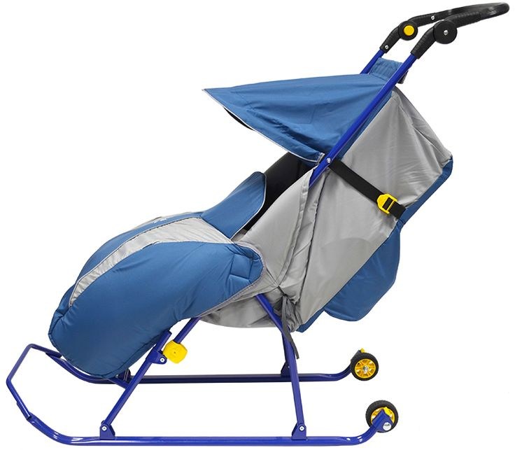 T2K SLED STROLLER BLUE  T2K blue  three-point safety belt smooth backrest adjustment Zippy Foot Muff wheels to cross snow-free area reinforced folding frame