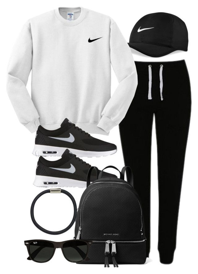 Sin título #12072 by vany-alvarado ❤ liked on Polyvore featuring NIKE, George, MICHAEL Michael Kors, Ray-Ban and Hershesons