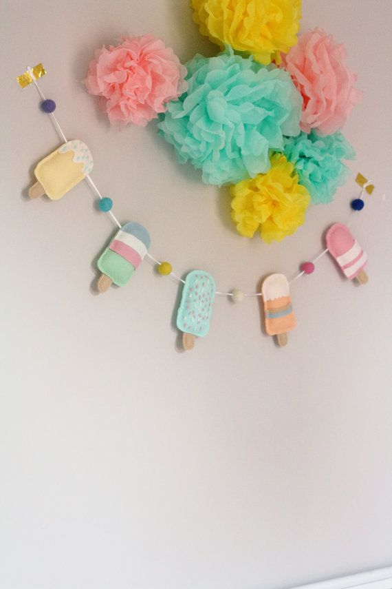 Ice Cream Garland, Popsicle Garland, Ice Lolly Garland, Felt Ice Cream Garland…
