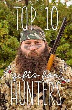 Top ten gifts for hunters. This is perfect to help you check off that shopping list for the hunter or huntress that has it all. Prices range from $5 up to $200. lifestraw, survival knife, fire starter, hunting gloves, hunting stool, ghillie suit, leafy suit, face mask, camo gloves, shooting sticks, binoculars, game camera, and an electronic caller.