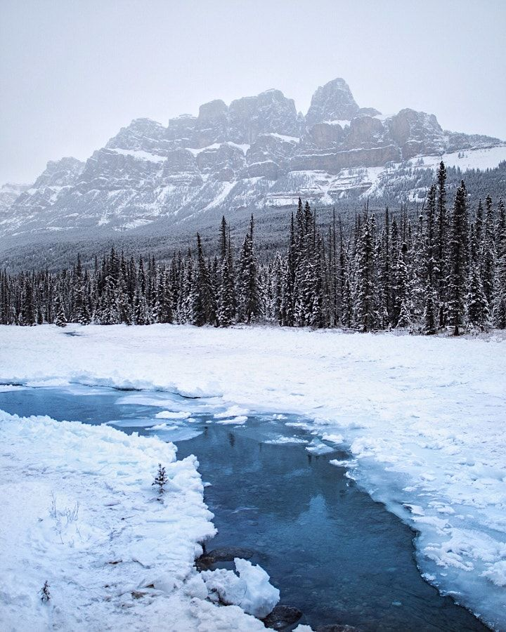 bow river. castle mountain. banff. alberta. by Tanner Wendell Stewart / 500px