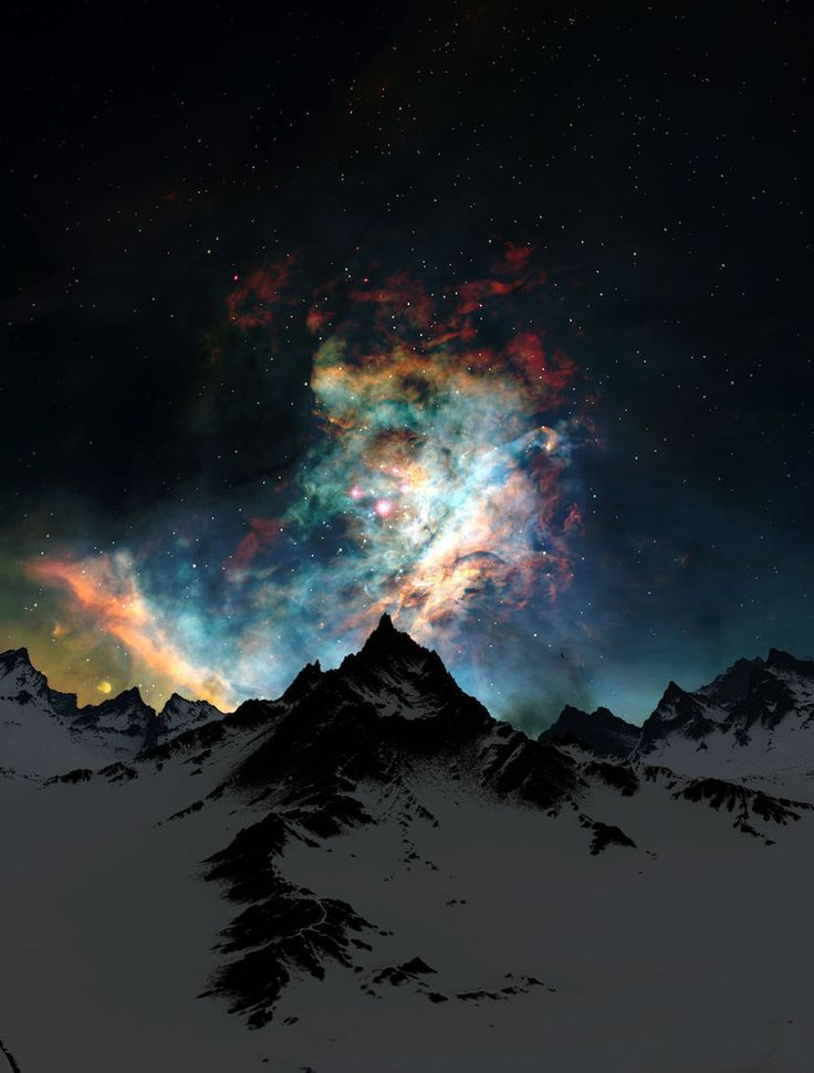 "This is not the Northern Lights! It's ""Through the Clouds, Night"" by ~Jeddaka on deviantART, and it's a Photoshopped combination of mountains and a picture of the Crab Nebula from NASA."