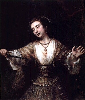 Rembrandt /The Suicide of Lucretia.  Sometimes an artist will use the roughness of the support, such as canvas, and uneven strokes of paint to imitate specific textures. The pattern in Lucretia's dress is composed of a flurry of impasto brush strokes. From a distance the gown is a compelling illusion of brocade.