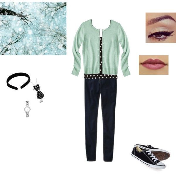 """Winter Mint Casual Pin-Up Outfit"" by elizabeth-mccallum on Polyvore"