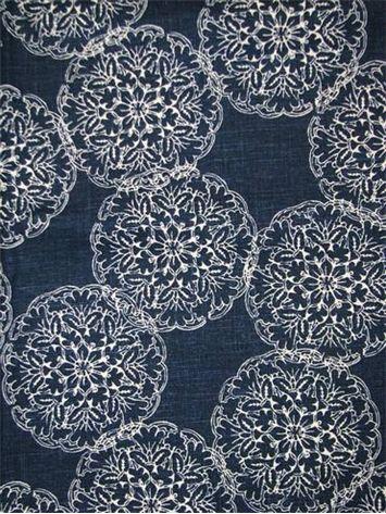 "Danda Indigo:John Robshaw Designer Fabric - Blockprint Textiles. Perfect drapery fabric or light use upholstery fabric. 55% linen, 45% rayon. Repeat: V: 13.5 H: 13.875, Duraguard finish. Made in U.S.A. 21034-193. 54"" wide"
