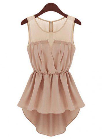 Stylish Scoop Collar Sleeveless See-Through Asymmetrical Women's BlouseBlouses | RoseGal.com