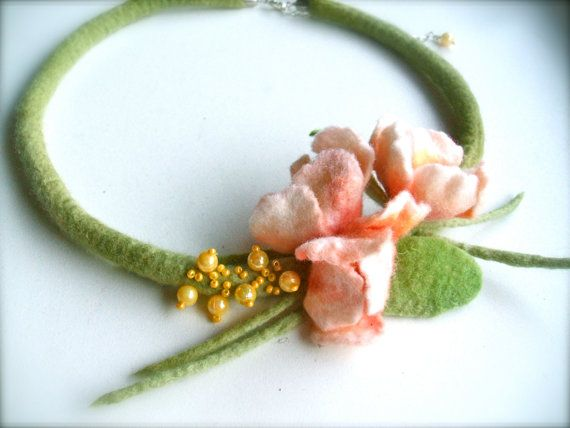 Handmade flowers necklace Blossoms felt necklace floral by jurooma