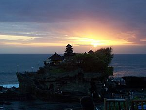 Sunset at Tanah Lot Temple which dates from the 15th century.  Bali travel guide - Wikitravel
