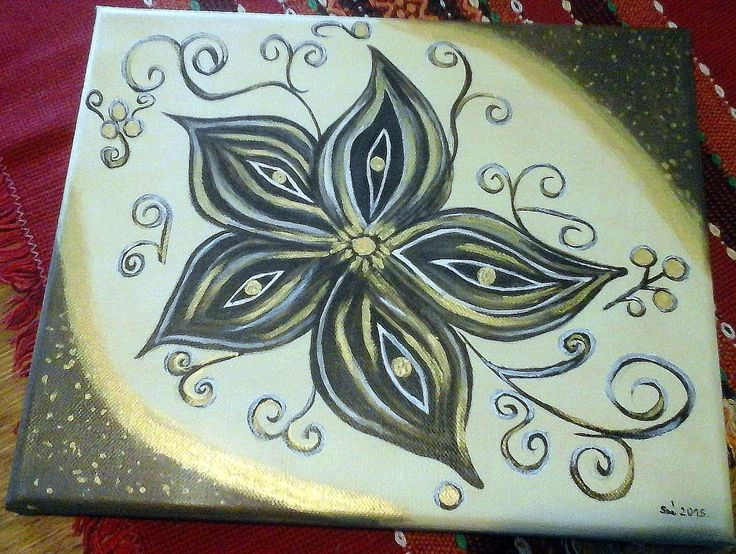 Created by: Kovácsné Sz. Éva - Star anise- acrylic, 24x30 cm canvas.