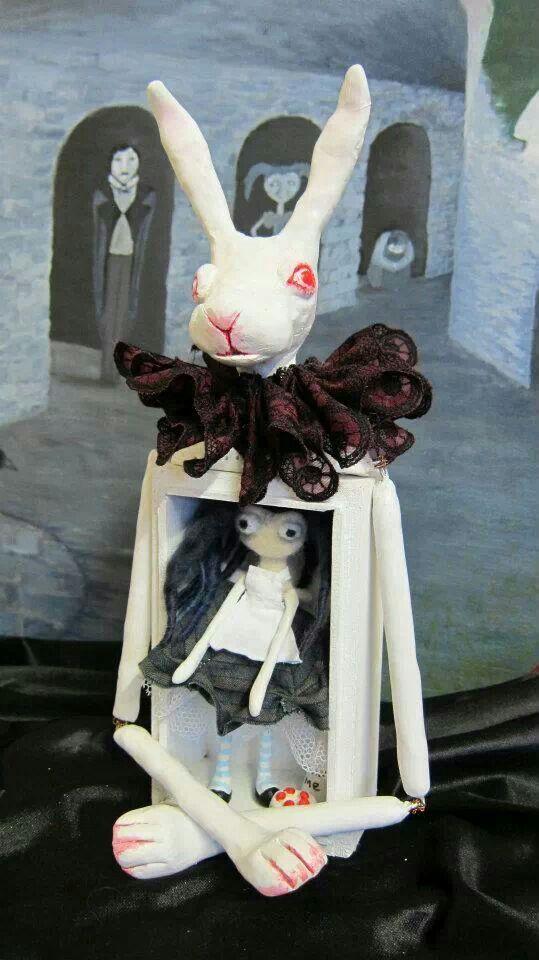 Alice in wonderland Sculpy doll - inside the white rabbit