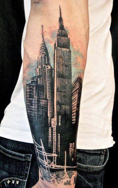 22291c96f3 Image result for skyscraper tattoo Cool Forearm Tattoos, Arm Tattoos For  Guys, New Tattoos