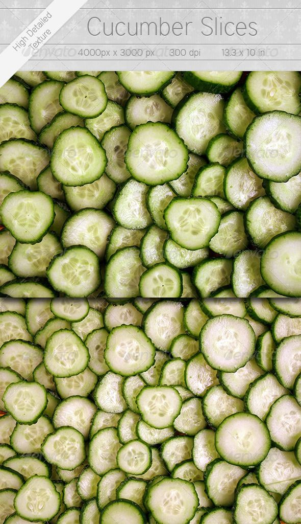 Cucumber Slices  #GraphicRiver         Cucumber Slices  	 2 high resolution 4000×3000px, 13.3×10 in, Jpeg images, highly detailed.  	 Ideal for backgrounds, textures, web, print, ads, 3D, and all your creative fields. Works wonderfully with blend mode changes, overlays and masking. Add texture to your designs, illustration, 3D modeling.  	 Food, restaurant, catering, health, shop, market related.  	 Lives up all your designs and illustrations.  	 Enjoy!     Created: 19November12…