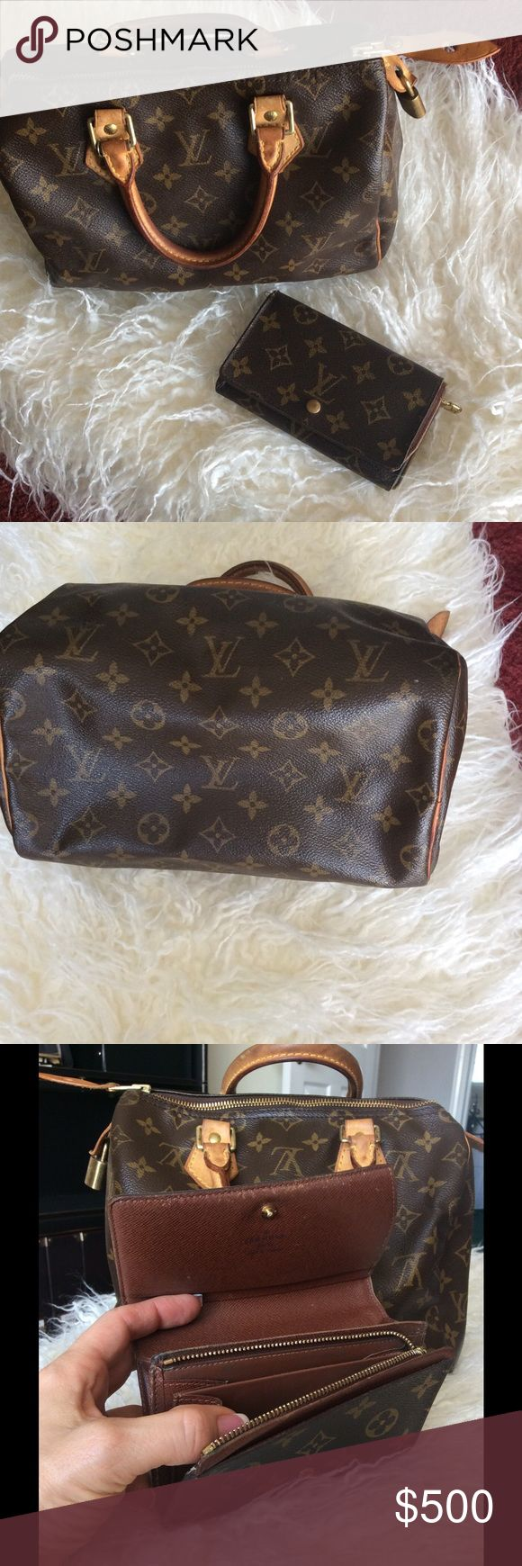 Authentic LV Speedy 25 w/ matching wallet. Authentic Speedy & wallet with dust cover, lock and key. NO trades. Bag has no rips or tears. Wallet is well worn with esperarían but zippers, snaps all working. Louis Vuitton Bags