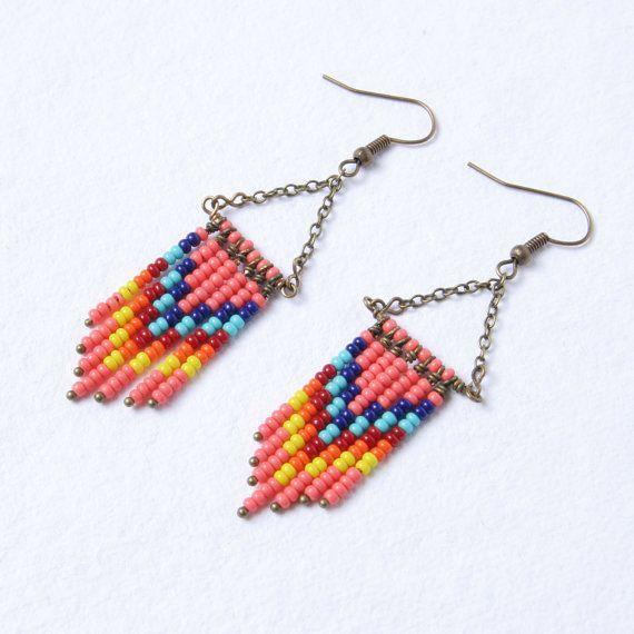 Southwestern Chandelier Earrings, Beaded Dangle Earrings, Pink, Blue, Turquoise, and Orange Chevron Earrings