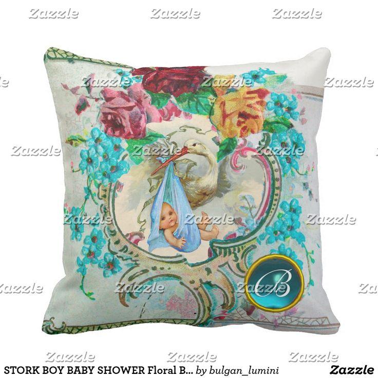 STORK BOY BABY SHOWER Floral Birth Boy Baby Stats Throw Pillow  #flowers #birth #newbaby #animals #babystatus #pillows