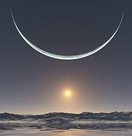 Sunrise at the North Pole when the Sun and the moon are at their closest point
