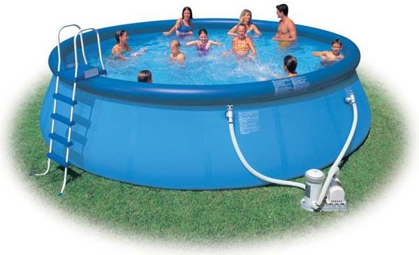 Amazing Round Blue Modern Style Portable Pools Design In Circular Design Finished In Blue Color With Stairs Made From Metal Material