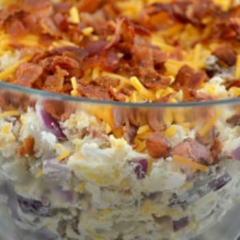 You can bet that this salad will make the picnic table this summer.  Love them in the winter and now I can have them in the summer.  Why did I not think of this? ;0)  Loaded Baked Potato Salad