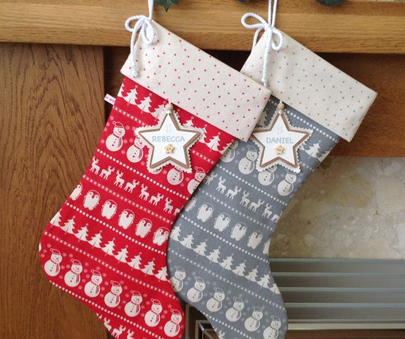 Scandinavian Christmas Stocking, Luxury Christmas Stocking, Personalised Christmas Stocking